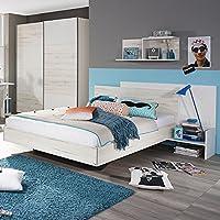 Preisvergleich für Jugendbett inkl. Ablage 100*200 cm eiche sanremo weiß Jugendliege Kinderbett Bettliege Bett Schlafzimmer Jugendzimmer Kinderzimmer