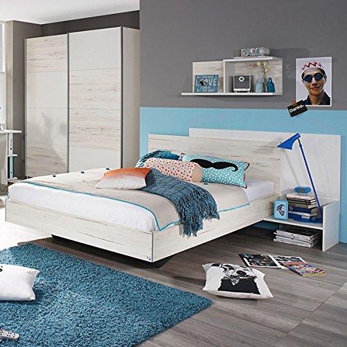 Jugendbett inkl. Ablage 100*200 cm eiche sanremo weiß Jugendliege Kinderbett Bettliege Bett Schlafzimmer Jugendzimmer Kinderzimmer -