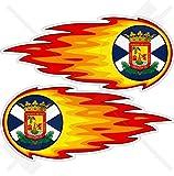 TENERIFFA INSEL Flammender Feuerball, Feur KANARISCHE INSELN Spanien, Islas Canarias Spanisch 125mm Auto & Motorrad Aufkleber, x2 Vinyl Stickers