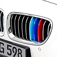 Exact Fit ///M-Colored Grille Insert Trims fit BMW F10 F11 5 Series 528i 535i 550i with M-Performance Black Kidney Grill (10 Beams),Not For 12-Beam Black Grille ABS Plastic
