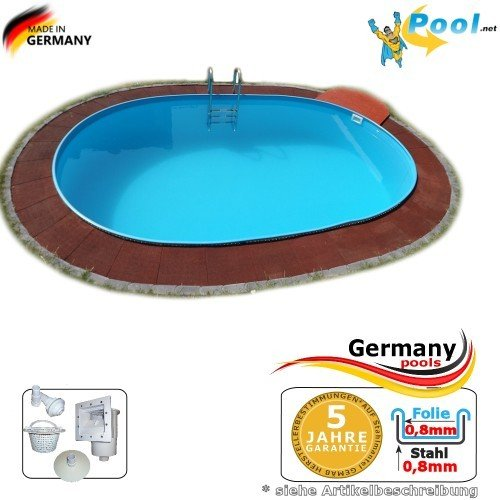 Ovalbecken 7,00 x 3,50 x 1,50 m Stahlwandpool Schwimmbecken Ovalpool 7,0 x 3,5 x 1,5 Swimmingpool Stahlwandbecken Fertigpool oval Pool Einbaupool Pools Gartenpool Poolbecken Einbaubecken Set