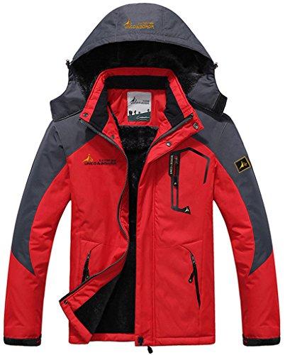 Sawadikaa Herren Winter Outdoorjacke wasserdicht Wandern Fleece Übergröße Skijacke Regenjacke Rot