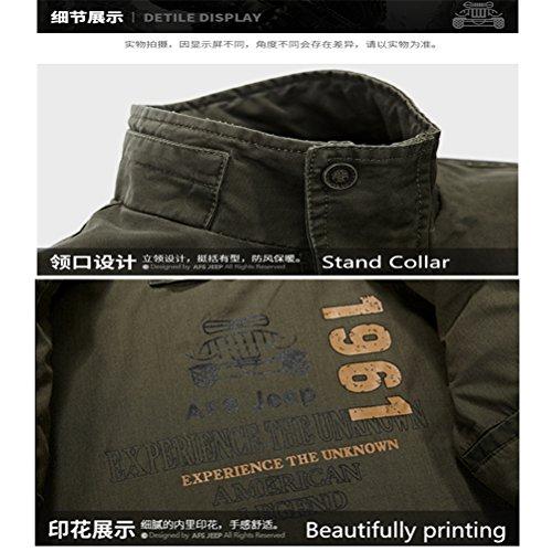 WS668 Herren Stehkragen Dünne Mäntel Classic Outwear Multi Pocket Baumwolle Overcoat Militär Jacke Mens Bomber Jacket Armygrün