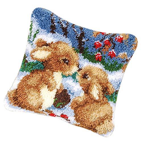 Hülle Zierkissenbezüge zum Selber Knüpfen, Knüpfwolle, Knüpfset für Kinder und Erwachsene - Kaninchen ()
