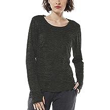 icyzone Damen Laufshirt Langarm T-Shirts atmungsaktive Funktionsshirt für  Sport Fitness 4af6ae66a9