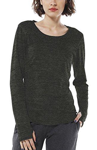 icyzone Damen Laufshirt Sport Training Langarm Shirt mit Daumenloch (Black Heather, L)