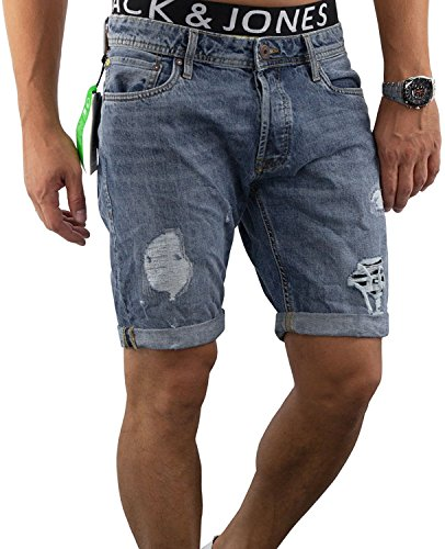JACK & JONES Herren Short jjiERIK 509 jjiRICK kurze Hose Jeans Blue Denim Destroyed Ripped (XL, Blau (Blue Denim Fit:REG jjiRICK 105))