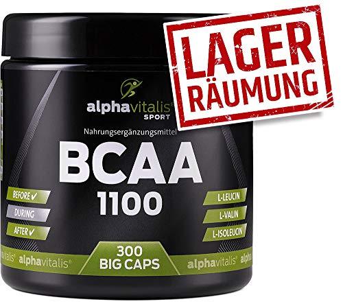 BCAA 1100-300 BCAA Kapseln ohne Magnesiumstearat - 1100 mg + B6 - glutenfrei - laktosefrei - alphavitalis SPORT® - essentielle Aminosäuren EINWEG