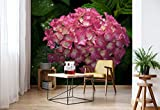 Wallsticker Warehouse Blumen Hortensie Rosa Vlies Fototapete Fotomural - Wandbild - Tapete - 368cm x 254cm / 4 Teilig - Gedrückt auf 130gsm Vlies - 1565V8 - Blumen