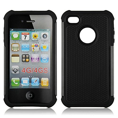 casefirst iPhone 4 4S Back Shell Case, Ultra Slim Fit Girls Back Shell Full Protective Cover for iPhone 4 4S Black (4s Case Für Iphone Carry)
