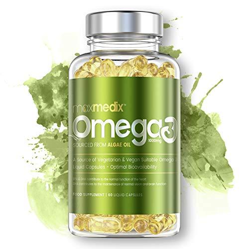 MaxMedixTM Omega 3 - Integratore Di Omega3 - Con EPA & DHA - 1000mg Olio Di Alghe - 60 Capsule Liquide
