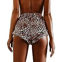 Pantalones cortos de verano para mujer, LILICAT® Pantalones cortos de moda sexy Pantalones de cintura alta Pantalones cortos de playa estampados de leopardo Boho Pantalones cortos de playa Chanda Legging Pantalones cortos deportivos ocasionales (L, marrón)