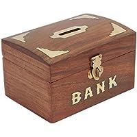 Antico Ispirato In Legno Denaro Titolare Moneta Della Banca Per I Bambini