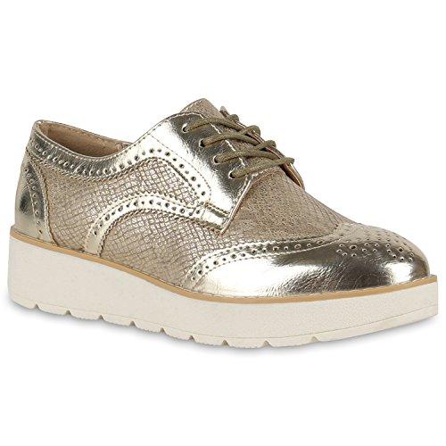 Stiefelparadies Damen Schuhe Plateauschuhe Halbschuhe Metallic Brogues 134949 Gold Metallic 38 Flandell