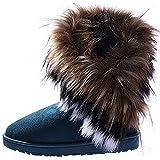 Damen Winter Schneestiefel Winterstiefel Stiefeletten Schlupfstiefel Boots Warm Pelz Stiefel, Grün, Gr. 38