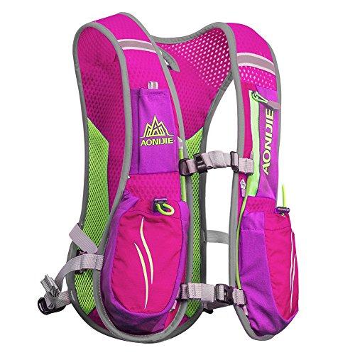 Imagen de aonijie 5.5l profesional al aire libre  trail marathoner running race chaleco de hidratación sistema de hidratación , rosa alternativa