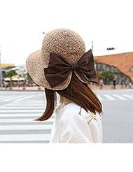 LKMNJ La Sra. Sun Sombreros Sombreros Sombrero de Paja plegable Software apertura grande, decorada Pajarita Playa ,caqui