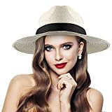 RenFox Protezione UV Panama Cappello, Cappelli da Spiaggia Sole Elegante & Unisex Casual per Primavera Estate Spiaggia Vacanza(Latte Bianco)