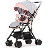 CDREAM Kinderwagen Zusammenfaltbar Baby Carriage Ab 0 Monate Bis 15 Kg Reise Buggy Mit Liegeposition Und Klappbar Baby Wagen,Pink+Grey(A)