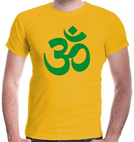 buXsbaum Herren T-Shirt Om Zeichen | Indien Meditation Hinduismus Aum | S, Gelb