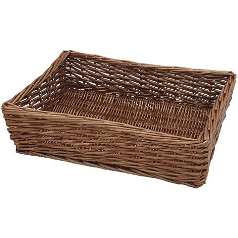 Padstow mimbre bandeja de cesta de almacenaje–Pan frutas Artículos de aseo etc., Mimbre, marrón, M