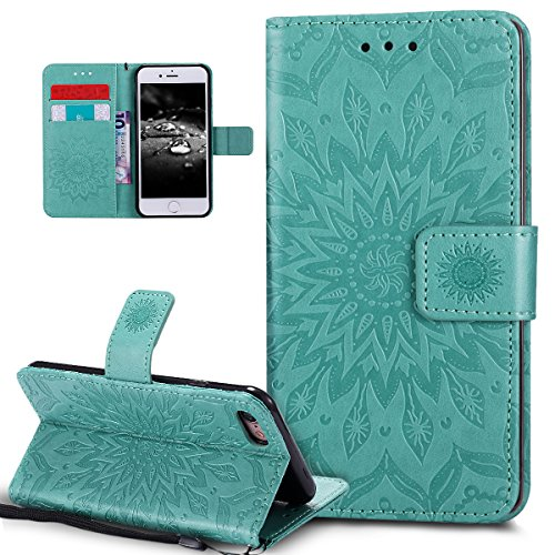 Custodia iPhone 7, iPhone 7 Cover, ikasus® iPhone 7 Girasole di Emboss Custodia Cover [PU Leather] [Shock-Absorption] Protettiva Cover Custodia in pelle verniciata Modello con Super Sottile TPU Intern verde