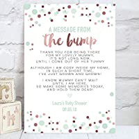 Personalised Message From The Bump Baby Shower Table Sign in Rose Gold Effect and Mint Green (BS11)