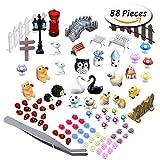 Paxcoo 87 Pcs Miniature Ornaments Kit Set with 1 Pcs Tweezer for DIY Fairy Garden Dollhouse Décor
