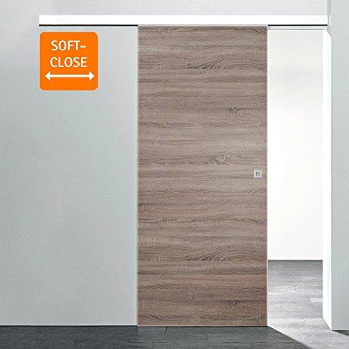 inova Holz-Schiebetür 755x2035mm Wildeiche Zimmertür Innentür Komplettset mit Laufschiene & Holztür, Quadratgriff + Softclose