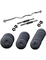 ScSPORTS Hantel-Set 35,5 kg Curl-Hantelstange 120 cm, Kurz-Hanteln 35 cm mit Gewinde inklusive 6x Schraubverschluss und Gewichte Hantelscheiben-Set Kunststoff schwarz