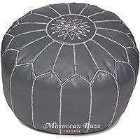 """Moroccan Buzz premium leder pouf ottoman abdeckung 13.5"""" hoch x 20"""" grau preisvergleich bei kinderzimmerdekopreise.eu"""