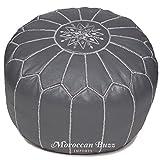 Moroccan Buzz cuir haut de gamme ottoman pouf cover 13,5' de haut x 20' gris