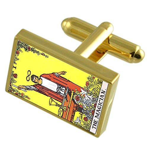 Tarot Mago Tarjeta Gold-tono gemelos Cuadro de Mensaje grabado