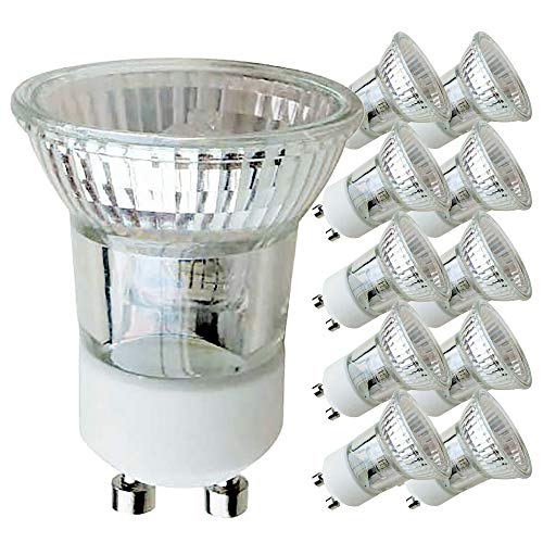 10 x Halogen Reflektor klein GU10 35W MR11 230V flood 30° warmweiß 2700K dimmbar (35 Watt, 10 Stück) -