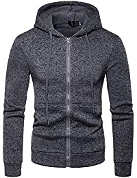 ZIYOU Herren Sport Kapuzen Jacke mit Reißverschluss, Männer Hoodie Sweatshirt Herbst Winter Baseball Spleißen Kapuzenpullover