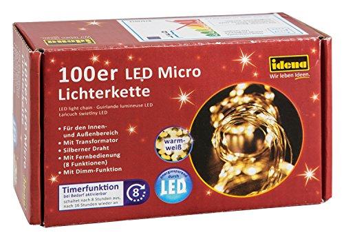 Idena LED Lichterkette für innen und außen, 100er, mit Timer, 31351, warm weiß, 8325058