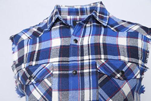 SOOPO Herren Ärmellose Kariert Flanell Hemden Freizeithemd aus Baumwolle Sleeveless T-Shirt blau&weiß