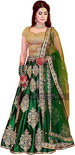 ShreeBalaji Creation Women\'s Silk Embroidered Lehenga Choli (SBC_L-1, Multicolour, Free Size)