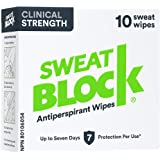 SweatBlock Clinical Strength Antiperspirant Wipes- Treat Hyperhidrosis & Excessive Sweating - Up to 7 Days Protection Per Wip