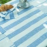 1 unidad. Camino de mesa Philippe de lino. Azul. LinenMe 50 x 131 cm.