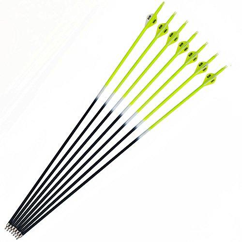 12 Stück Carbonpfeile 30 Zoll Bogenpfeile Pfeile für Bogen Spine 500 für Recurvebogen und Compoundbogen(Gelb)