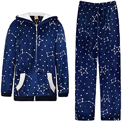 GJX Manga larga grueso señoras franela pijamas pijamas otoño invierno ropa de abrigo Coral trajes ,