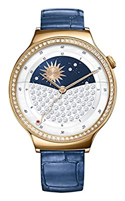 Huawei 55021238 Jewel Smart Wrist Watch with Stainless Steel/Leather Bracelet Rose Gold/Blue