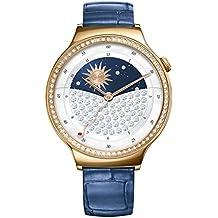 Huawei 55021238Jewel Smartwatch con piel pulsera, Acero inoxidable Rosegold/azul