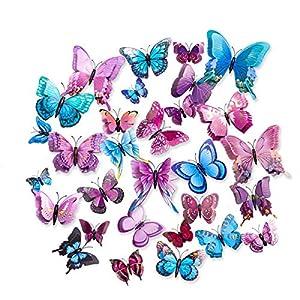 36 Stücks Schmetterling Aufkleber Wandsticker Wandtattoo Wanddeko Doppelschichten 3D Flügel Schmetterlinge Dekoration…