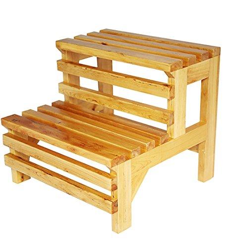 WUDENG Escabeau en bois massif en bois massif repose-pieds baignoire double usage escalier couleur naturelle 39x42x38cm (Couleur : Natural wood color)