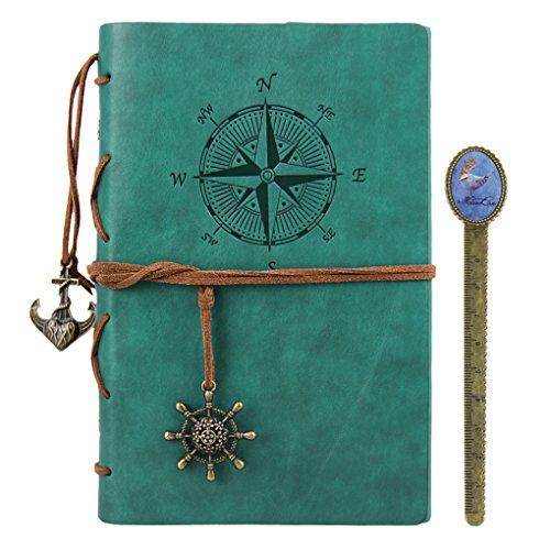 Diario in pelle diario notebook Refillable Travelers vintage Spiral Pocket writing notebook Journal Nautical Blank string diario blocco note A4, copertina rigida, supporti di carta A5 Light Blue