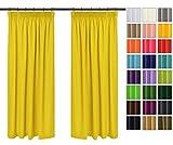 Rollmayer 2er Pack Vorhänge mit Bleistift Kollektion Vivid (Gelb 5, 135x175 cm - BxH) Blickdicht Uni einfarbig Gardinen Schal für Schlafzimmer Kinderzimmer Wohnzimmer 2 Stück