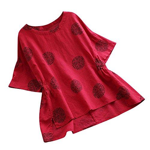 VEMOW Sommer Herbst Elegante Damen Plus Größe Dot Print Lose Baumwolle Casual Täglichen Party Strandurlaub Kurzarm Shirt Vintage Bluse Pulli(Rot, EU-48/CN-4XL)