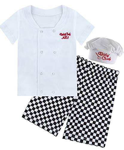 Mombebe Baby Jungen Koch Kostüm Kurz Kleidung Set mit Hut (Koch, 0-6 Monate)